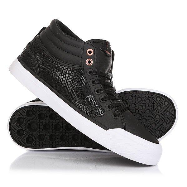 Кеды кроссовки высокие женские DC Evan Hi Se Black/Black кеды кроссовки высокие женские dc rebound hi chambray