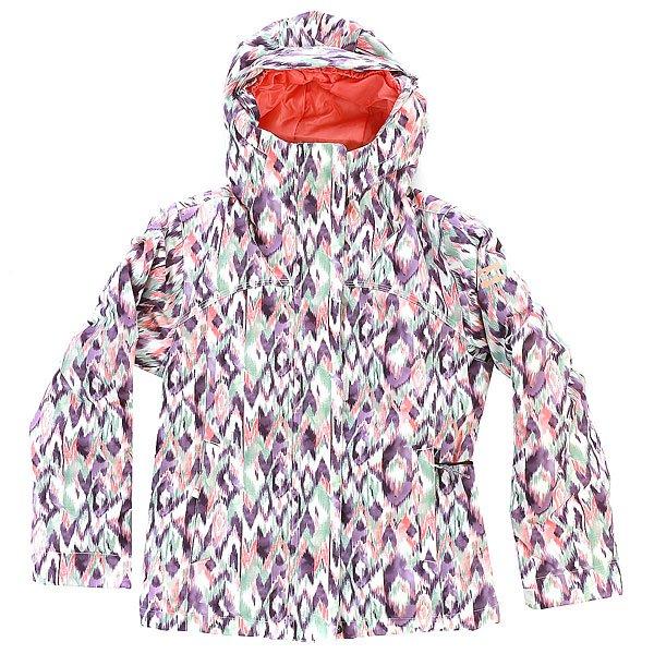 Куртка детская Billabong Malina IkatЛаконичный дизайн и отличная производительность для того, чтобы уверенно чувствовать себя на склоне в непогоду, ветер и снег. Куртка снабжена эластичным гейтором, встроенным в капюшон, снегозащитной юбкой и регулируемыми на липучке манжетами, которые будут препятствовать попаданию внутрь снега и ветра. Мембранная ткань защитит от талого снега, а приятным бонусом станет система ростаGROROOM, которая позволит использовать куртку далеко не один сезон. Характеристики:Детская куртка с системой ростаGROROOM. Мембранная дышащая влагостойкая ткань с показателями 5000мм / 5000г/м2. Утеплитель: Polyfill (120г туловище, 100г рукава). Подкладка: тафта.Прямой крой. Швы проклеены в стратегических местах. Отделка внутренней части ворота микрофлисом. Утягивающийся подол. Фиксированная снегозащитная юбка. Карман для ски-пасса на рукаве на молнии. Внутренний медиа-карман.Капюшон со встроенным эластичным гейтором. Регулируемые на липучках манжеты. Два кармана для рук на молнии. Фирменный логотип на рукаве.<br><br>Цвет: мультиколор<br>Тип: Куртка утепленная<br>Возраст: Детский