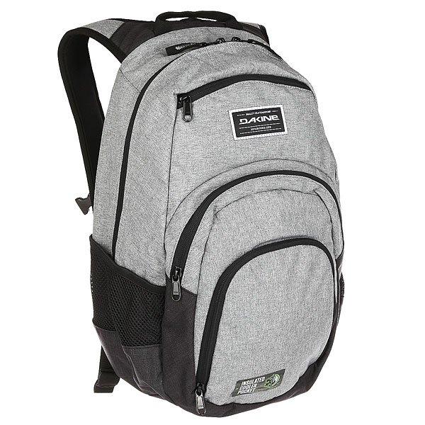 Рюкзак городской Dakine Campus SellwoodПочувствуйте легкость и комфортс рюкзаком Dakine Campus.Он вместит в себявсе необходимое и равномерно распределит нагрузку благодаря нагрудному ремню и удобным лямкам. Стильный дизайн сшироким ассортиментом расцветок позволит подобрать рюкзак идеально подходящий к Вашему образу. Отличная модель для тех, кто всегда в движении.Характеристики:Вместительное основное отделение на молнии. Стеганый чехол для ноутбука с экраном14 (размер25L) / 15 (размер 33L).Удобные регулируемые лямки. Ручка для ношения в руках. Передний карман на молнии сорганайзером. Изолированный термоотсек. Внешний карман на флисовой подкладке для солнцезащитных очков. Боковые карманы из сетки. Регулируемый нагрудный ремень. Фирменный логотипDakine.<br><br>Цвет: черный,серый<br>Тип: Рюкзак городской<br>Возраст: Взрослый