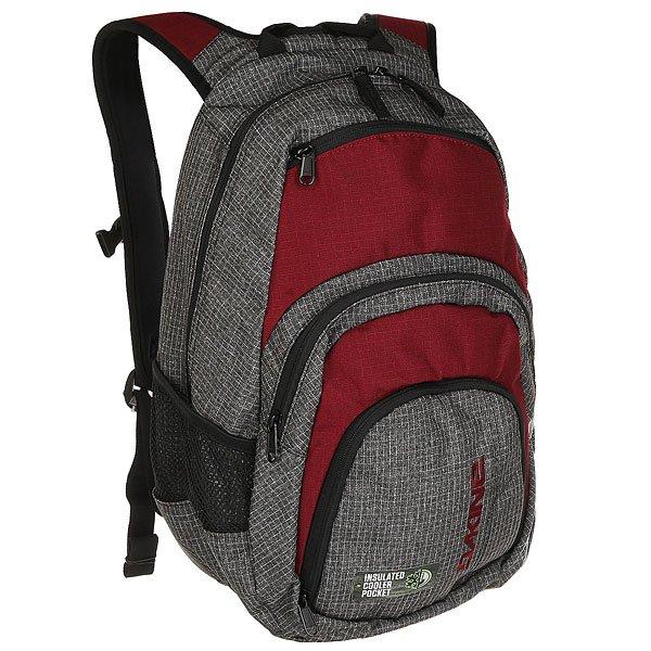 Рюкзак городской Dakine Campus WillametteПочувствуйте легкость и комфортс рюкзаком Dakine Campus.Он вместит в себявсе необходимое и равномерно распределит нагрузку благодаря нагрудному ремню и удобным лямкам. Стильный дизайн сшироким ассортиментом расцветок позволит подобрать рюкзак идеально подходящий к Вашему образу. Отличная модель для тех, кто всегда в движении.Характеристики:Вместительное основное отделение на молнии. Стеганый чехол для ноутбука с экраном14 (размер25L) / 15 (размер 33L).Удобные регулируемые лямки. Ручка для ношения в руках. Передний карман на молнии сорганайзером. Изолированный термоотсек. Внешний карман на флисовой подкладке для солнцезащитных очков. Боковые карманы из сетки. Регулируемый нагрудный ремень. Фирменный логотипDakine.<br><br>Цвет: бордовый,серый<br>Тип: Рюкзак городской<br>Возраст: Взрослый