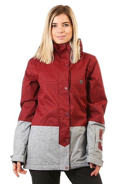 Куртка женская DC Shoes Defy Cordovan RedНевероятно функциональная катальная куртка, выполненная в стиле колорблок и дополненная узнаваемым фирменным логотипом на груди и на рукаве. DC Defy выполнена из мембранной тканиEXOTEX™ 10K и дополнена утеплителем, а благодаря внутренним манжетам из лайкры и снегозащитной юбке всегда готова защитить от ветра и холода, не пустив внутрь снег. КурткаDC Defy обладает прямым кроем и готова помочь составить непринужденный расслабленный образ, никак не ограничивая в свободе движений.Характеристики:Дышащая влагостойкая мембранная ткань EXOTEX™ 10K (10 000 мм, 5 000г/м2). Утеплитель: 100г туловище, 60г рукава. Подкладка: тафта. Прямой крой и непринужденный стиль для свободы движений. Швы проклеены в стратегических местах. Сетчатые карманы для вентиляции подмышками.Регулируемый в двух направлениях капюшон. Капюшон с козырьком.Фиксированная снегозащитная юбка. Система крепления куртки к штанам.Внутренние манжеты из лайкры. Регулируемые на липучке манжеты.Нагрудный карман на вертикальной молнии с внутренним аудио-выводом.Внутренний сетчатый карман. Два кармана для рук с теплой подкладкой на молнии. Карман на молнии на рукаве для ски-пасса. Фирменный логотип на нагрудном кармане и рукаве. Состав: 100% полиэстер.<br><br>Цвет: бордовый,серый<br>Тип: Куртка утепленная<br>Возраст: Взрослый<br>Пол: Женский
