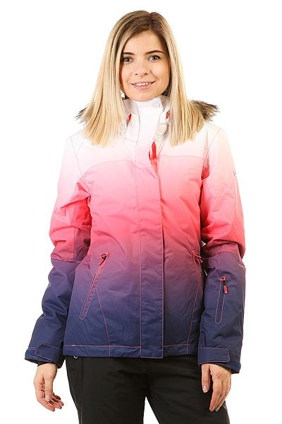 Куртка женская Roxy Jet Ski Jk Grad Gradient Paradise PiТеплая сноубордическая куртка Roxy Jet Ski Gradient примечательна своей яркой градиентной расцветкой, женственным узким кроем и оторочкой на капюшоне из искусственного меха. Однако, приятный дизайн и аккуратный силуэт ничего не имеют против агрессивной защиты от ветра и влаги, поэтому куртка выполнена из влагостойкой мембранной ткани DryFlight® 10К и содержит надежную порцию утеплителя Warmflight®. Дополнительные средства защиты включают в себя проклеенные критические швы, снегозащитную юбку, эластичные манжеты с отверстием для большого пальца, высокий ворот и систему присоединения куртки к штанам. Характеристики:Влагостойкая ткань DryFlight® 10К (10 000 мм / 10 000 г). Зауженный крой. Центральная молния по всей длине с ветрозащитным клапаном на кнопках. Регулируемый капюшон со съемной оторочкой из искусственного меха. Высокий ворот с мягкой подкладкой. Подкладка из тафты со вставками из трикотажа с начесом. Синтетический утеплитель Warmflight® (тело 120 г, рукава 100 г, капюшон 60 г). Проклеенные критические швы. Снегозащитная юбка.Система пристегивания куртки к штанам. Боковые карманы на молнии с теплой подкладкой. Внутренний карман для маски. Медиа-карман с каналом для наушников.Карман для ски-пасса на молнии на рукаве. Регулируемые внешние манжеты на липучке. Манжеты из лайкры с отверстием для большого пальца.Вентиляционные отверстия с сетчатой подкладкой. Нашивка с фирменным логотипом на подоле, логотип на рукаве. Состав: 100% полиэстер.<br><br>Цвет: белый,фиолетовый,розовый<br>Тип: Куртка утепленная<br>Возраст: Взрослый<br>Пол: Женский
