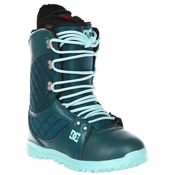 Ботинки для сноуборда женские DC Karma Deep TealПрочный и универсальный ботинок на легкой технологичной подошве Unilite™.Технические характеристики: Традиционная шнуровка.Технологичная и легкая подошва Unilite™.Подошва из полимера EVA.Внутренник Red.Базовая сноубордическая стелька.Жесткость 5/10.<br><br>Цвет: синий<br>Тип: Ботинки для сноуборда<br>Возраст: Взрослый<br>Пол: Женский