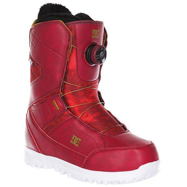 Ботинки для сноуборда женские DC Search MaroonКомфортные и легкие ботинки на технологичной подошве Unilite™.Технические характеристики: Система скоростной шнуровки Boa® H3 Coiler™.Технологичная и легкая подошва Unilite™.Внутренник Red.Базовая сноубордическая стелька.Подошва из  полимера EVA.Жесткость 6/10.<br><br>Цвет: бордовый<br>Тип: Ботинки для сноуборда<br>Возраст: Взрослый<br>Пол: Женский