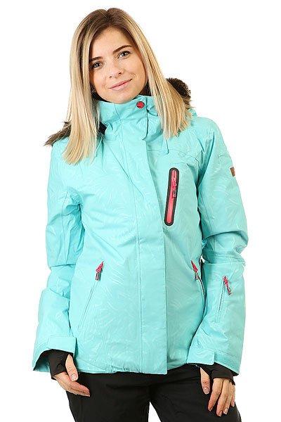 Куртка женская Roxy Jet Ski Prem Blue RadianceДля девушек, которые живут горами и в горах, в мечтах и наяву. Куртка в приталенном силуэте выгодно подчеркивает фигуру, а также отличается теплом и технологичностью.Технические характеристики: Мембрана DryFlight® 15К.Утеплитель Thinsulate™ Type M (тело 100 г, рукава 80 г, капюшон 60 г).Подкладка из тафты со вставками из трикотажа с начесом.Полностью проклеенные швы.Три способа регулировки капюшона.Съемный капюшон.Съемная отделка капюшона из искусственного меха.Снежная юбка из тафты с удобными кнопками.Система пристегивания куртки к штанам.Подкладка в районе подбородка.Внутренний медиа карман.Внутренний карман для маски.Кармашек для скипасса на рукаве.Ткань для протирки фильтра маски.Брелок для ключей.Лайкровые манжеты с прорезями для больших пальцев.Сеточная вентиляция на молнии.Водостойкие молнии YKK® Aquaguard®.Карманы с теплой подкладкой.Воротник из косметического текстиля Enjoy &amp; Care.<br><br>Цвет: голубой<br>Тип: Куртка утепленная<br>Возраст: Взрослый<br>Пол: Женский