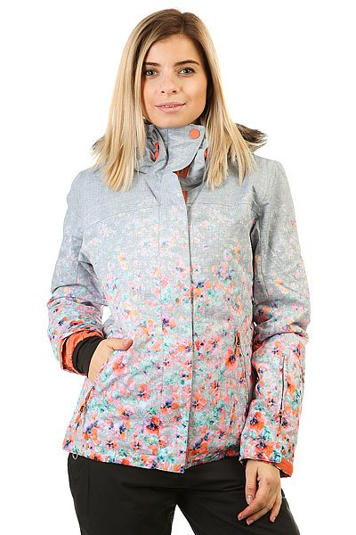 Куртка женская Roxy Jet Ski Grad Gradient Flowers HeaДля девушек, которые живут горами и в горах, в мечтах и наяву. Куртка в приталенном силуэте выгодно подчеркивает фигуру, а также отличается теплом и технологичностью.Технические характеристики: Мембрана DryFlight® 15К.Утеплитель Thinsulate™ Type M (тело 100 г, рукава 80 г, капюшон 60 г).Подкладка из тафты со вставками из трикотажа с начесом.Полностью проклеенные швы.Три способа регулировки капюшона.Съемный капюшон.Съемная отделка капюшона из искусственного меха.Снежная юбка из тафты с удобными кнопками.Система пристегивания куртки к штанам.Подкладка в районе подбородка.Внутренний медиа карман.Внутренний карман для маски.Кармашек для скипасса на рукаве.Ткань для протирки фильтра маски.Брелок для ключей.Лайкровые манжеты с прорезями для больших пальцев.Сеточная вентиляция на молнии.Водостойкие молнии YKK® Aquaguard®.Карманы с теплой подкладкой.Воротник из косметического текстиля Enjoy &amp; Care.<br><br>Цвет: серый,мультиколор<br>Тип: Куртка утепленная<br>Возраст: Взрослый<br>Пол: Женский
