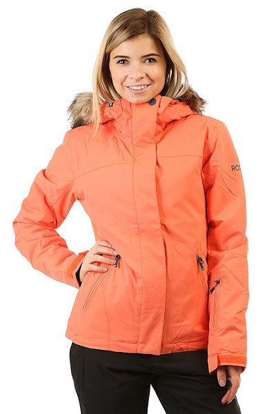 Куртка женская Roxy Jet Ski Sol CamelliaПриталенная и уютная сноубордическая куртка со съемным мехом. Стильная цветовая гамма для настроения, а надежная мембрана DryFlight® 10К и утеплитель Warmflight® будут держать Вас в тепле в холодные зимние дни.Технические характеристики: Мембрана DryFlight® 10К.Утеплитель Warmflight® (тело 120 г, рукава 100 г, капюшон 60 г).Подкладка из тафты со вставками из трикотажа с начесом.Критические швы проклеены.Три способа регулировки капюшона.Съемный капюшон.Съемная отделка капюшона из искусственного меха.Фиксированная снежная юбка из тафты с удобными кнопками.Система пристегивания куртки к штанам.Подкладка в районе подбородка.Внутренний медиа карман.Внутренний карман для маски.Брелок для ключей.Внутренние манжеты из лайкры.Кармашек для скипасса на рукаве.Карманы для рук с теплой подкладкой.Манжеты с регулировкой на липучках.Сеточная вентиляция на молнии.Подол на утяжке для защиты от ветра.Застежка на молнии с ветрозащитным клапаном на липучках.<br><br>Цвет: оранжевый<br>Тип: Куртка утепленная<br>Возраст: Взрослый<br>Пол: Женский