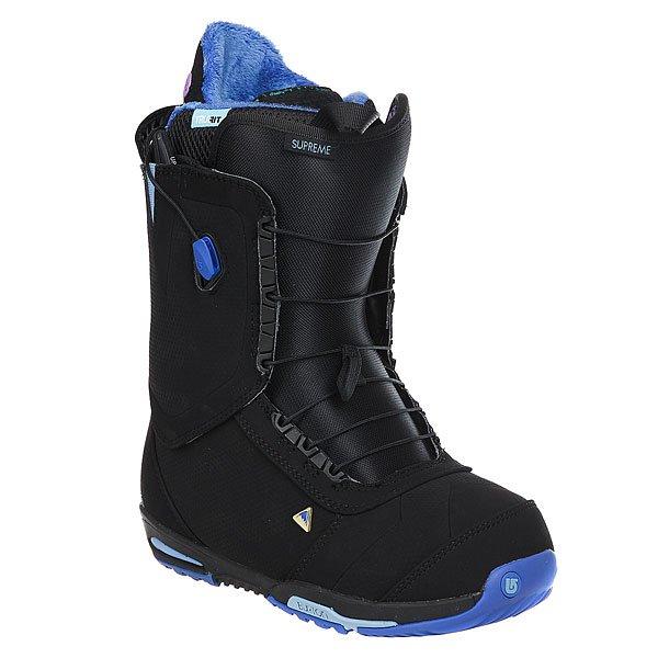 Ботинки для сноуборда женские Burton Supreme Blue EclipseСозданные для больших гор и высоких скоростей, где так важна точная передача энергии и надежный контроль, женские сноубордические ботинки Burton Supreme предоставят наивысший уровень тепла, комфорта, фиксации и сцепления с креплениями. Это выбор таких про как Келли Кларк, однако, благодаря конструкции Total Comfort, ботинки сможет по достоинству оценить и менее продвинутый райдер. Модель этого сезона представляет абсолютно новый внутренник Life Liner, самый комфортный и легкий в линейке, который дополнен вставками DRYRIDE Heat Cycle™ и Rebounce Cusioning, которые работают вместе, чтобы эффективно отражать тепло внутрь ботинка и сохранять его мягким вне зависимости от того, насколько холодно на улице.Характеристики:Конструкция ботинок SPECIFIC TRUE FIT™ DESIGN разработана с учетом анатомических особенностей женской ноги. Конструкция Total Comfort: конструкция этих ботинок предполагает удобство ношения с первого дня без дополнительной подгонки ботинка. Двухзоновая шнуровка SPEED ZONE™ LACING: обеспечивает равномерное прилегание ботинка с удобной настройкой силы натяжения верхней нижней части ботинка по отдельности.Долговечный трос шнуровки New England Ropes. Технология ARTICULATING CUFF позволяет верхней и нижней части ботинка сгибаться отдельно, в результате уменьшая давление на оболочку ботинка и максимизируя поддержку пяточной части. Цепкое покрытие вертикальной задней части ботинка Griplite Backstay для лучшего взаимодействия с хайбэком креплений без дополнительных силовых затрат. Язычок 1:1 MEDIUM FLEX POWERUP TONGUE средней гибкости. Подошва двойной плотности PodBED из вспененного EVA материала обеспечит хорошую амортизацию и улучшит сцепление в области пятки и носа. Вставки B3 Gel в подошве для лучшей амортизации и виброгашения. Амортизационная вставка в подошву Rebounce Cusioning: двухслойный отражающий слой полиуретана не только поглощает вибрации, но и сохраняет ценное тепло. Вставка из теплоотражающег