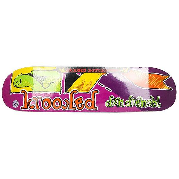 Дека для скейтборда для скейтборда Krooked Drehobl Frakshun Purple 31.25 x 7.75 (19.7 см)Ширина деки: 7.75 (19.7 см)    Длина деки: 31.25 (79.4 см)    Количество слоев: 7Прочная кленовая дека в специальном дизайне от Dan Drehobl.Технические характеристики: Дека из 7 слоев клена.Про модель Dan Drehobl.<br><br>Цвет: фиолетовый,мультиколор<br>Тип: Дека для скейтборда<br>Возраст: Взрослый<br>Пол: Мужской