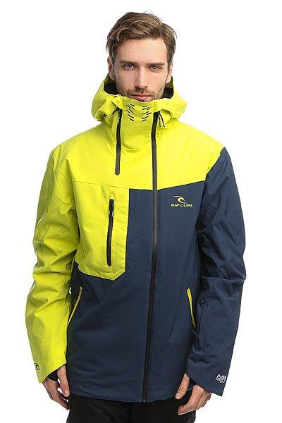 Куртка Rip Curl Core Search Gum Jkt Sulphur SpringТехнические характеристики: Эластичная ткань 2-WAY STRETCH и Оксфорд.Подкладка CLIMA MAPPING.Дышащий воротник.Водонепроницаемые молнии YKK.4 внешних кармана и внутренний карман.Крепление куртки с штанам.<br><br>Цвет: синий,желтый<br>Тип: Куртка утепленная<br>Возраст: Взрослый<br>Пол: Мужской