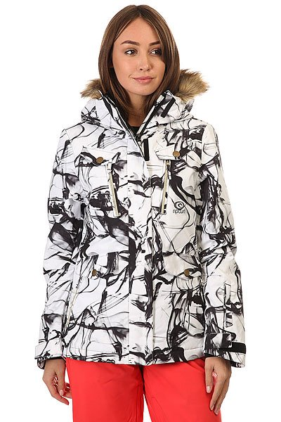 Куртка женская Rip Curl Chick Printed Jkt Jet BlackТехнические характеристики: Прочная ткань Оксфорд.Съемный капюшон с меховой отделкой.Молнии YKK.5 внешних кармана и внутренний карман.<br><br>Цвет: черный,белый<br>Тип: Куртка утепленная<br>Возраст: Взрослый<br>Пол: Женский