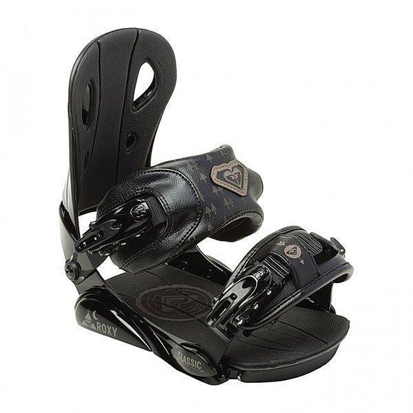Крепления для сноуборда женские Roxy Classic Bind BlackНадежный партнер для Ваших горных приключений. Удобная посадка, производительность и стиль в креплениях, на которые Вы можете положиться.Технические характеристики: База RX имеет длинную полноразмерную стельку из пены EVA, которая поглощает вибрации и минимизирует напряжение ног при катании, также база позволяет центрировать крепления с помощью регулируемой алюминиевой дуги, а обтекаемый дизайн RX предотвращает налипание снега.Top Adjusting Toe Ramp - райдер может отрегулировать трамплин для пальцев, уже находясь в креплениях.Верхний ремень Classic Ankle Strap - 3D конструкция мягко и плотно обхватывает ногу, обеспечивая комфорт и поддержку.Нижний ремень Classic Toe Strap - классический функциональный ремень на баклях.Бакли Classic 062 из легкого и прочного алюминия.Хайбек RX-A - ассиметричный хайбек из легкого, прочного и поглощающего вибрацию термопластика, спроектированный специально под женскую стойку, чтобы обеспечивать лучший отклик при меньших усилиях, легко регулируется без дополнительных инструментов.Тип креплений - 4x4/Channel Disk Sizes.<br><br>Цвет: черный<br>Тип: Крепления для сноуборда<br>Возраст: Взрослый<br>Пол: Женский