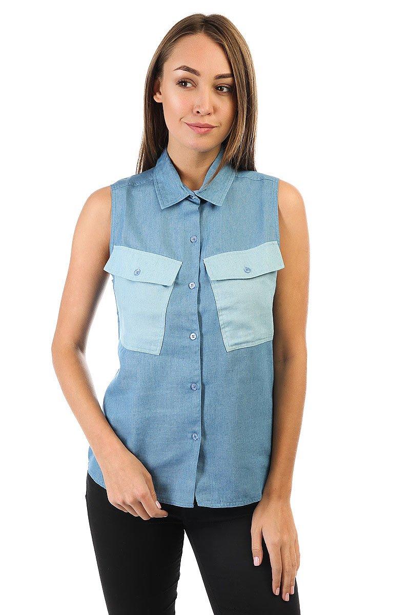 Рубашка женская Stussy Tilted Denim Shirt Blue<br><br>Цвет: синий<br>Тип: Рубашка<br>Возраст: Взрослый<br>Пол: Женский