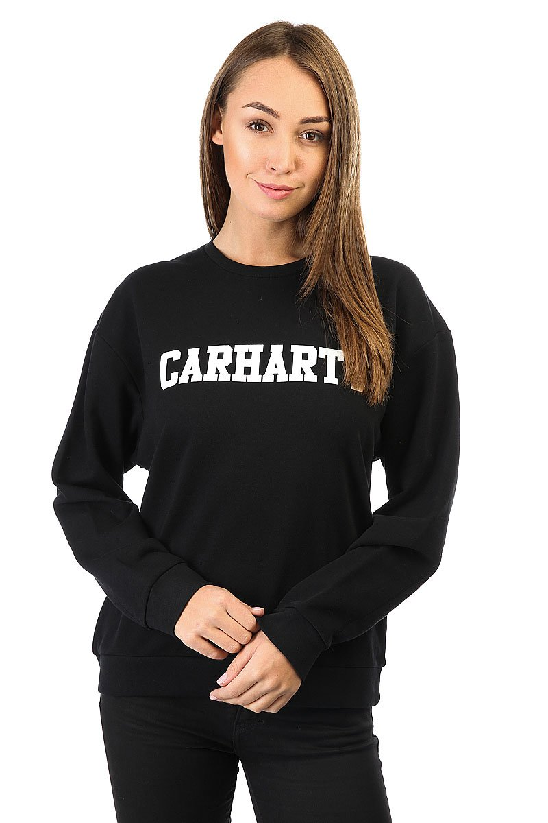 Толстовка классическая женская Carhartt WIP Wip College Sweatshirt Black / White<br><br>Цвет: черный<br>Тип: Толстовка классическая<br>Возраст: Взрослый<br>Пол: Женский