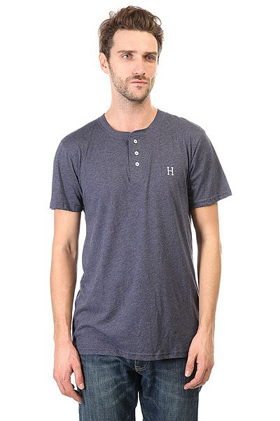 Футболка Huf Classic H Henley Navy Heather майка huf 12 galaxies tank navy heather