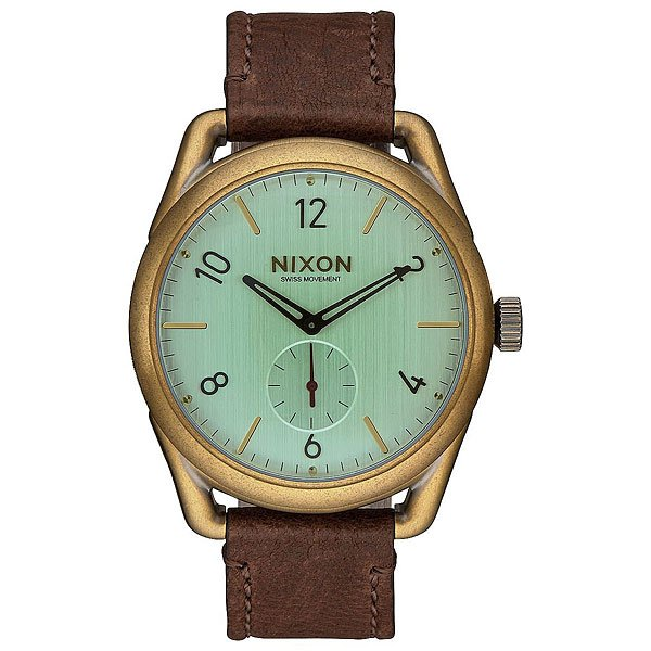 Кварцевые часы Nixon C39 Leather Brass/Green Crystal/Brown