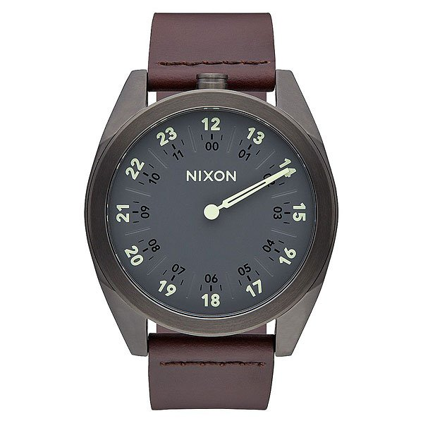 Кварцевые часы Nixon Genesis Leather Gunmetal/Brown