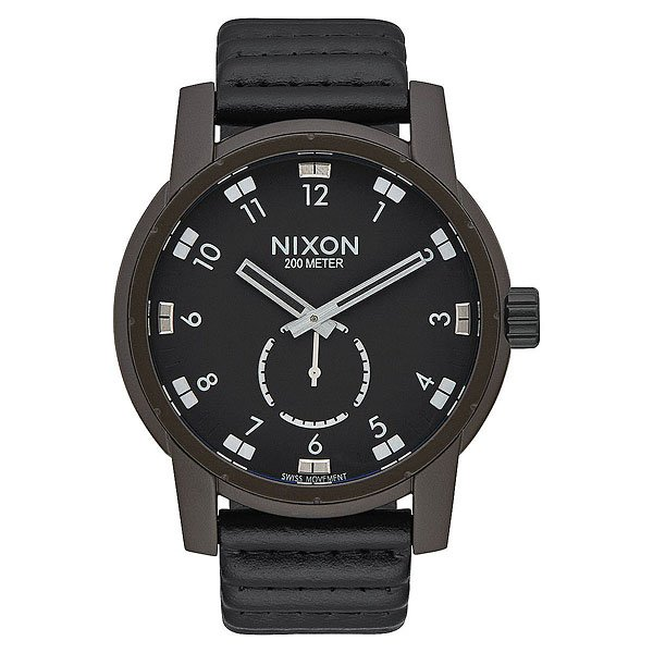 Кварцевые часы Nixon Patriot Leather Bronze/Black часы nixon re run leather all black