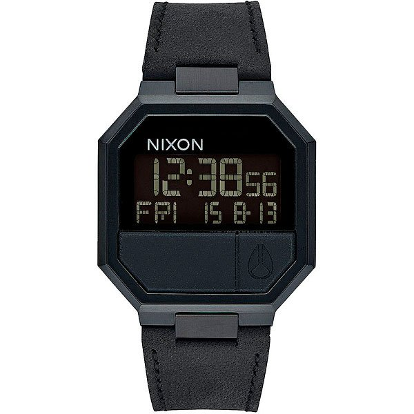 Электронные часы Nixon Re-run Leather All BlackОбновленный дизайн часов в стиле ретро с кожаным ремешком и электронным цифровым дисплеем.Технические характеристики: Многофункциональный цифровой дисплей с календарем, двойным временем, будильником, таймером обратного отсчета и подсветкой.LCD дисплей.Прочный корпус из нержавеющей стали.Закаленное минеральное стекло.Формованные силиконовые кнопки.Задняя крышка из нержавеющей стали.Кожаный ремешок с застежкой из нержавеющей стали.<br><br>Тип: Электронные часы<br>Возраст: Взрослый<br>Пол: Мужской