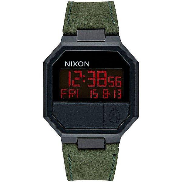 Электронные часы Nixon Re-run Leather All Black/GreenОбновленный дизайн часов в стиле ретро с кожаным ремешком и электронным цифровым дисплеем.Технические характеристики: Многофункциональный цифровой дисплей с календарем, двойным временем, будильником, таймером обратного отсчета и подсветкой.LCD дисплей.Прочный корпус из нержавеющей стали.Закаленное минеральное стекло.Формованные силиконовые кнопки.Задняя крышка из нержавеющей стали.Кожаный ремешок с застежкой из нержавеющей стали.<br><br>Тип: Электронные часы<br>Возраст: Взрослый<br>Пол: Мужской
