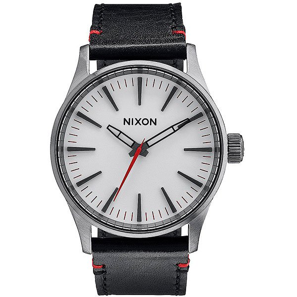 Кварцевые часы Nixon Sentry 38 Leather Gunmetal/White