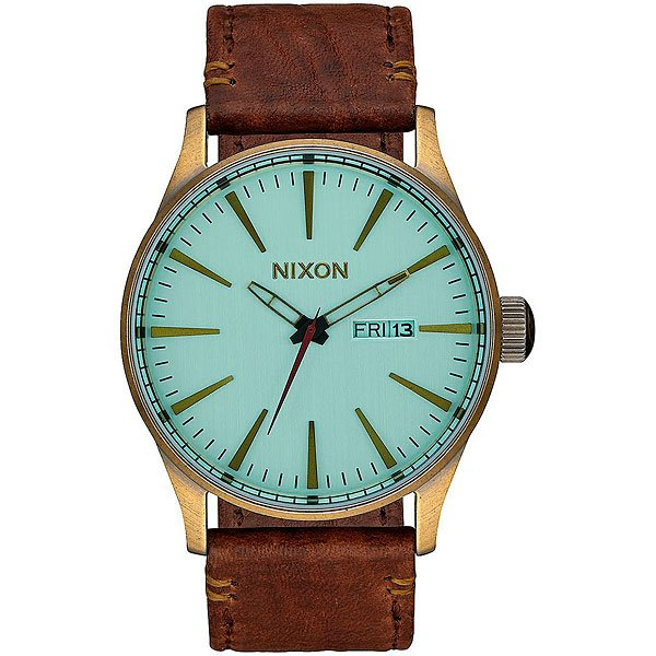 Кварцевые часы Nixon Sentry Leather Brass/Green Crystal/Brown