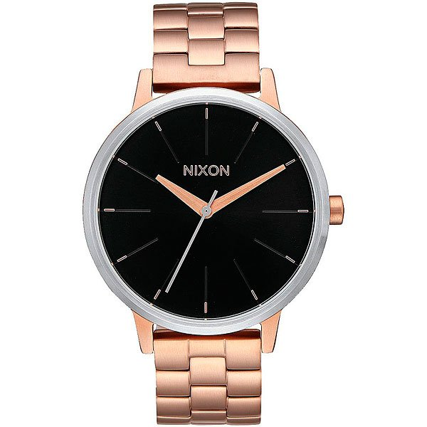 Кварцевые часы женские Nixon Kensington Rose Gold/Black Sunray часы женские nixon kensington all white gold o s