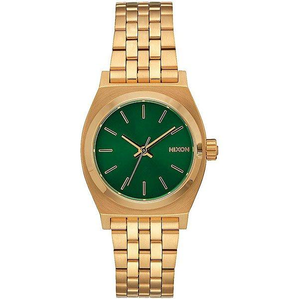 Кварцевые часы женские Nixon Small Time Teller Gold/Green Sunray<br><br>Тип: Кварцевые часы<br>Возраст: Взрослый<br>Пол: Женский