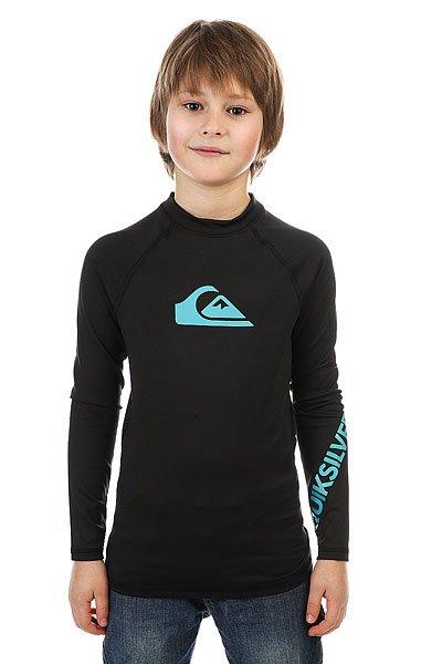 Гидрофутболка детская Quiksilver All Time Boy BlackДетская серфовая футболка с длинными рукавами от Quiksilver.Технические характеристики: Серфовая футболка с длинным рукавом.Плотность ткани 170 г/кв. м.Фактор защиты от УФ излучения UPF 50+.Плоские швы.Логотип Quiksilver.<br><br>Цвет: черный<br>Тип: Гидрофутболка<br>Возраст: Детский