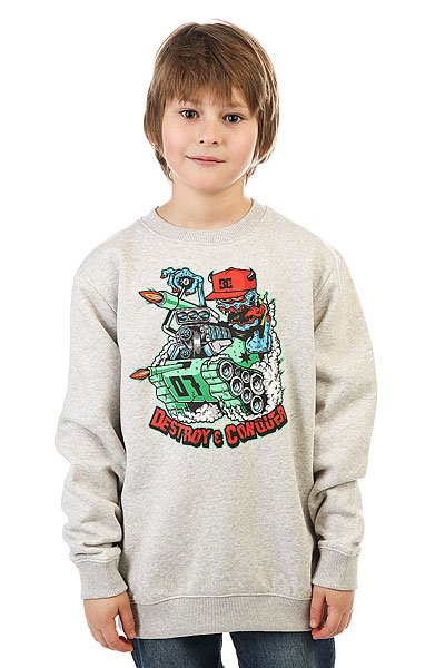 Толстовка классическая детская DC Mr Tank Crew Bo Light Heather Grey<br><br>Цвет: серый<br>Тип: Толстовка классическая<br>Возраст: Детский