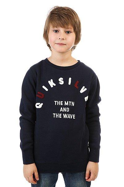 Толстовка классическая детская Quiksilver Holman Crew Navy Blazer<br><br>Цвет: синий<br>Тип: Толстовка классическая<br>Возраст: Детский