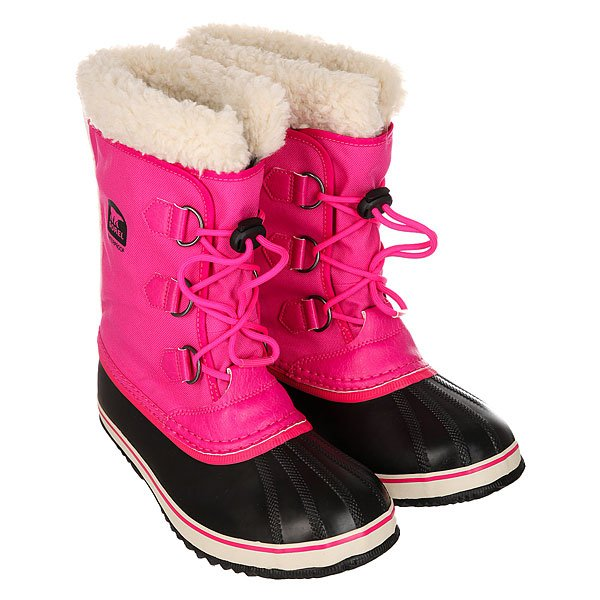 Сапоги зимние детские Sorel Yoot Pac Nylon Haute An PinkБудет ли Ваш ребенок играть в снежки или кататься на санках, водонепроницаемые и комфортные сапоги Yoot Pac Nylon подарят приятное тепло в зимние дни!Технические характеристики: Герметичная водонепроницаемая конструкция.Водонепроницаемый верх из полиуретана и текстиля.Съемный и моющийся внутренник Sherpa Pile толщиной  9 мм.Прослойка из пробки в подошве толщиной 25 мм.Подошва из вулканизированной резины с протектором елочка.<br><br>Цвет: черный,розовый<br>Тип: Сапоги зимние<br>Возраст: Детский