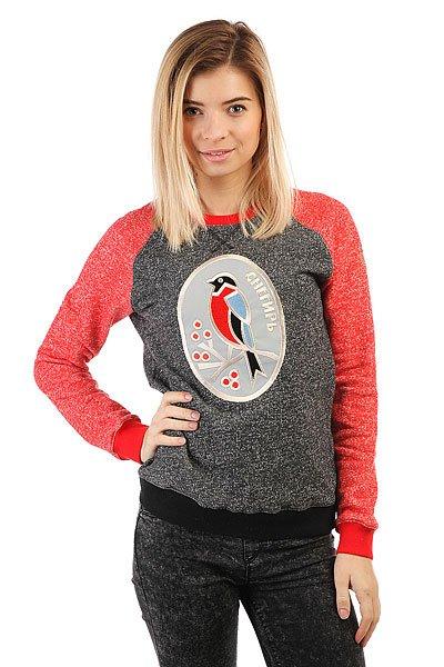 Толстовка свитшот женский Запорожец Снегирь Серо Черный/Красный<br><br>Цвет: серый,красный<br>Тип: Толстовка свитшот<br>Возраст: Взрослый<br>Пол: Женский