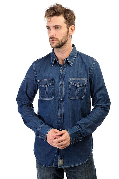 Рубашка Dickies Blue Collar Shirt Indigo Blue<br><br>Цвет: синий<br>Тип: Рубашка<br>Возраст: Взрослый<br>Пол: Мужской