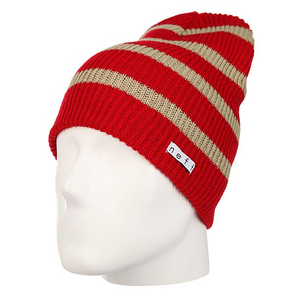 Шапка носок Neff Daily Stripe Beanie Red/Twill