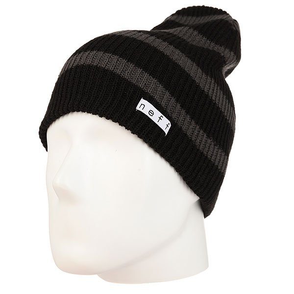 Шапка носок Neff Daily Stripe Beanie Black/Charcoal цена