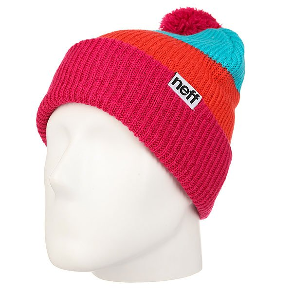 Шапка Neff Snappy Beanie Pink/Orange/Teal шапка neff fold beanie teal