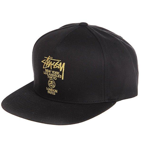 Бейсболка с прямым козырьком Stussy World Tour Lux Strapback Cap Black<br><br>Цвет: черный<br>Тип: Бейсболка с прямым козырьком<br>Возраст: Взрослый<br>Пол: Мужской