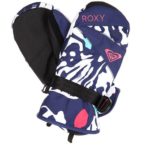 Варежки сноубордические детские Roxy Rxjettygirlmitt Butterfly Blue Print брюки сноубордические цена 1500