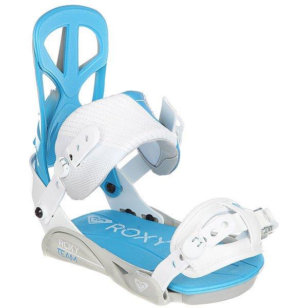 Крепления для сноуборда женские Roxy Team Bind WhiteУниверсальные крепления для начинающих и продвинутых райдеров.Технические характеристики: Регулируемая дуга из алюминия упрощает центровку креплений на доске.Верхний ремешок High Density Real Feel - мягко, но надежно удерживает ногу в необходимой позиции.Нижний ремешок Roll-over - традиционный эластичный ремень, крепко обхватывает носок.Амортизирующая стелька двойной плотности.Хайбек RX-1 Super Lightweight сделан из поглощающего вибрацию термопластика и имеет удобный асимметричный дизайн.Тип креплений - 4x4 Disc и Channel.<br><br>Цвет: белый,голубой<br>Тип: Крепления для сноуборда<br>Возраст: Взрослый<br>Пол: Женский