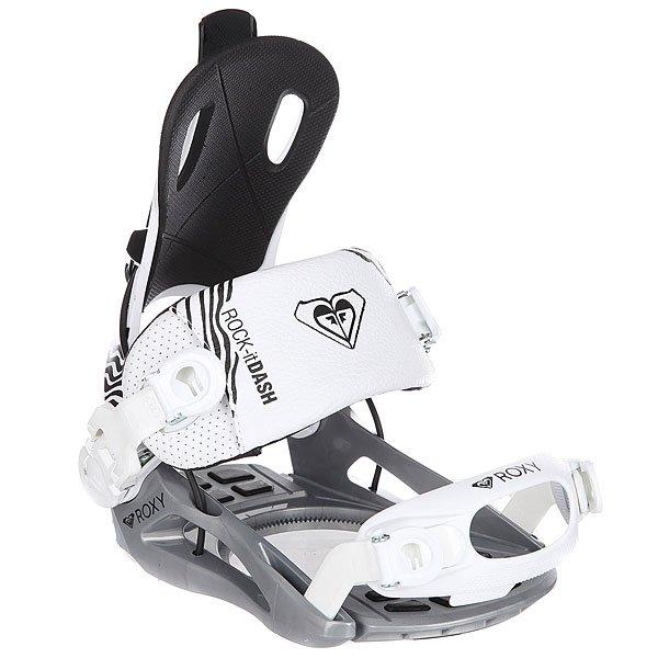 Крепления для сноуборда женские Roxy Rock-it Dash WhiteБлагодаря креплениям Roxy Rock-It Dash препятствий для занятия сноубордингом стало еще меньше. Симметричный хайбек FT2 и технология Auto Open Lever позволит тратить все меньше времени на крепления, и больше на измельчение снега!Технические характеристики: База FT4 создает предсказуемый и живой отклик.Защитные подушки на носке и пятке поглощают удары и вибрацию во время езды.Ремень на лодыжке Inverse Single Panel разработан, чтобы соответствовать вашему ботинку для идеальной посадки. Перевернутая конструкция с мягкой отделкой для максимального комфорта.Ремень на носке Fab Fit для дополнительной стабильности и контроля.Бакли Auto Open Lever работают в один щелчок.Функция Cable Redirection беспрепятственно закрывает хайбек.Симметричный хайбек FT2 (RX S) обеспечивает комфорт и поддержку, а пена EVA создает дополнительную амортизацию при жестких посадках.Система крепления 4 x 4 &amp; Channel Disc.<br><br>Цвет: белый,черный,серый<br>Тип: Крепления для сноуборда<br>Возраст: Взрослый<br>Пол: Женский