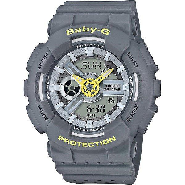 Кварцевые часы женские Casio G-Shock Baby-g 67595 Ba-110pp-8a GreyCasio BABY-G – противоударные наручные часы, которые вдохновляют!Часы являются идеальным аксессуаром для гармоничного сочетания спортивных увлечений и стильного внешнего вида.Стоит отметить, что для коллекции BABY-G с каждым годом дизайнеры разрабатывают все больше фешн-деталей, чем постоянно усовершенствуют стиль наручных часов. Характеристики:Часы оснащенысветодиодной подсветкой, что позволяет считывать информацию с циферблата даже в темное время суток.Ударопрочностьчасамобеспечивает качественный полимерный корпус. который защищает часы от внешних воздействий. Функцияотображения мирового времени, которая позволяет видеть время того часового пояса в котором вы находитесь, а также любого другого пояса или города по всемумиру. Функция секундомерапозволяет производить вычисления до 1/100 секунды на протяжении 24 часов. Таймер обратного отсчета.Будильник: 5 ежедневных будильников, а также есть функция повтора сигнала будильника. Функция включения или отключения звука кнопок -с помощью этой функции Вы сможете отключать звук кнопок, но при этом все звуковые сигналы остаются активными. Автоматический календарьотображает точную дату.Отображение времени в двух форматах - 12 и 24 часа.<br><br>Цвет: серый<br>Тип: Кварцевые часы<br>Возраст: Взрослый<br>Пол: Женский