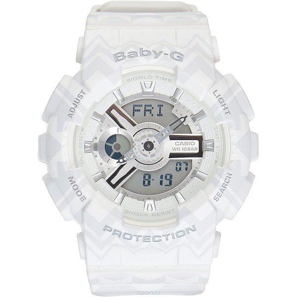 Кварцевые часы женские Casio G-Shock Baby-g 67046 Ba-110tp-7a WhiteCasio BABY-G – противоударные наручные часы, которые вдохновляют!Часы являются идеальным аксессуаром для гармоничного сочетания спортивных увлечений и стильного внешнего вида.Стоит отметить, что для коллекции BABY-G с каждым годом дизайнеры разрабатывают все больше фешн-деталей, чем постоянно усовершенствуют стиль наручных часов. Характеристики:Часы оснащенысветодиодной подсветкой, что позволяет считывать информацию с циферблата даже в темное время суток.Ударопрочностьчасамобеспечивает качественный полимерный корпус. который защищает часы от внешних воздействий. Функцияотображения мирового времени, которая позволяет видеть время того часового пояса в котором вы находитесь, а также любого другого пояса или города по всемумиру. Функция секундомерапозволяет производить вычисления до 1/100 секунды на протяжении 24 часов. Таймер обратного отсчета.Будильник: 5 ежедневных будильников, а также есть функция повтора сигнала будильника. Функция включения или отключения звука кнопок -с помощью этой функции Вы сможете отключать звук кнопок, но при этом все звуковые сигналы остаются активными. Автоматический календарьотображает точную дату.Отображение времени в двух форматах - 12 и 24 часа.<br><br>Цвет: серый,белый<br>Тип: Кварцевые часы<br>Возраст: Взрослый<br>Пол: Женский