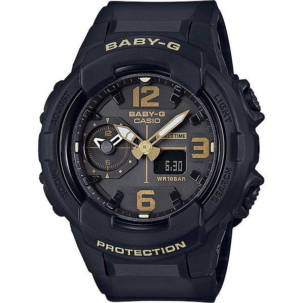 Кварцевые часы женские Casio G-Shock Baby-g 67599 Bga-230-1b BlackУдаростойкие женские наручные часы Casio Baby-G сделаны в лаконичном спортивном стиле, без лишних элементов, деталей и цветов. Циферблат вмещает разметку с крупными арабскими цифрами, дополнительный циферблатик для второго часового пояса и электронный дисплей, который показывает дату и другие функции. Корпус этих часов имеет высокий уровень водозащиты, стандарт WR 10 Bar подходит для плавания и погружений под воду без специального снаряжения. Простая и надёжная модель с основным, наиболее необходимым функционалом. Входят в коллекцию Baby-G для повседневного городского стиля Urban Utility 2016. Характеристики:Тип механизма:кварцевый. Тип крепления:полимерный ремешок. Тип отображения:электронно-аналоговые.Стекло:минеральное. Водонепроницаемость:WR10 (100 метров). Тип индикации:арабские цифры и индексы.Подсветка:светодиодная.Календарь:автоматический. Тип батареи:SR726W x 2 шт. Дополнительно:ударостойкие, мировое время 31 часовой пояс (48 городов + UTC), секундомер 1/1 сек. - 5959, таймер обратного отсчёта, будильник, ежечасный сигнал вкл/выкл, звук кнопок вкл/выкл, длительность подсветки 1,5 или 3 сек. на выбор.<br><br>Цвет: черный<br>Тип: Кварцевые часы<br>Возраст: Взрослый<br>Пол: Женский