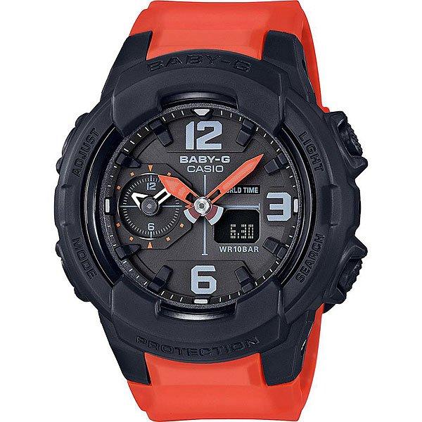 Кварцевые часы женские Casio G-Shock Baby-g 67601 Bga-230-4bУдаростойкие женские наручные часы Casio Baby-G сделаны в лаконичном спортивном стиле, без лишних элементов, деталей и цветов. Циферблат вмещает разметку с крупными арабскими цифрами, дополнительный циферблатик для второго часового пояса и электронный дисплей, который показывает дату и другие функции. Корпус этих часов имеет высокий уровень водозащиты, стандарт WR 10 Bar подходит для плавания и погружений под воду без специального снаряжения. Простая и надёжная модель с основным, наиболее необходимым функционалом. Входят в коллекцию Baby-G для повседневного городского стиля Urban Utility 2016. Характеристики:Тип механизма:кварцевый. Тип крепления:полимерный ремешок. Тип отображения:электронно-аналоговые.Стекло:минеральное. Водонепроницаемость:WR10 (100 метров). Тип индикации:арабские цифры и индексы.Подсветка:светодиодная.Календарь:автоматический. Тип батареи:SR726W x 2 шт. Дополнительно:ударостойкие, мировое время 31 часовой пояс (48 городов + UTC), секундомер 1/1 сек. - 5959, таймер обратного отсчёта, будильник, ежечасный сигнал вкл/выкл, звук кнопок вкл/выкл, длительность подсветки 1,5 или 3 сек. на выбор.<br><br>Цвет: черный,оранжевый<br>Тип: Кварцевые часы<br>Возраст: Взрослый<br>Пол: Женский