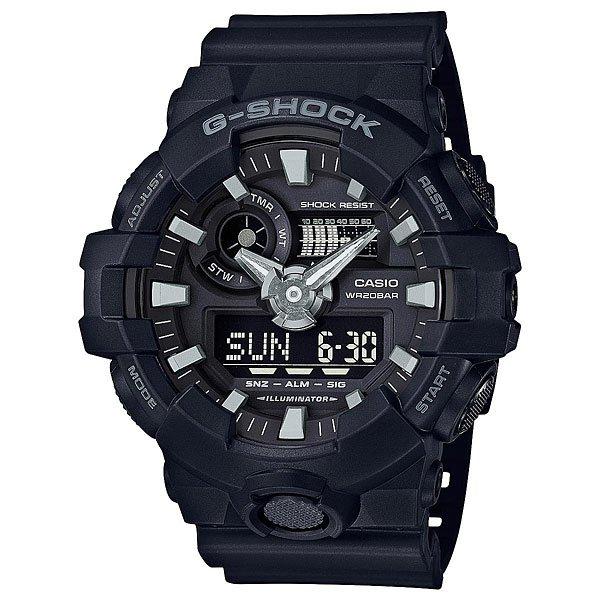 Кварцевые часы Casio G-shock 67581 Ga-700-1bСтильные наручные часы для любителей функционала и активного образа жизни.Характеристики:Яркая светодиодная LED-подсветка срабатывает при нажатии на кнопку. Изменяемое время свечения – 1,5 или 3 секунды. Отображение мирового времени в 31 часовых поясах с отображением 48 основных городов в них + GMT.Секундомер с точностью показаний 1/100 сек и максимальным временем измерения 24 часа. Режимы измерения – SPLIT и ADD. Таймер обратного отсчета на 60 минут с точностью в 1 секунду. 5 ежедневных будильников, устанавливаемых на определенное время, один с функцией Snooze, ежечасный сигнал. Вкл./Откл. звука кнопок. Подстройка положения стрелок при нажатии кнопок, таким образом, чтобы не закрывать дисплей и вспомогательные индикаторы. Автоматический календарь, не требующий дополнительной корректировки, может быть настроен по 2099 год. Отображение времени в 12/24 часовом формате.Комбинированный корпус выполнен из нерж. стали 316L и композитного полимерного материала. Минеральное стекло устойчивое к возникновению царапин.Трехмерный циферблат, большие часовые метки с объемной 3D структурой.Люминесцентный состав на стрелках и часовых метках с ярким послесвечением даже после кратковременного воздействия света. Стальная задняя крышка из нерж. стали с гравировкой соединена с корпусом 4 винтами. Ремешок из полимерного материала, стандартная застежка с двойным шипом.<br><br>Цвет: черный<br>Тип: Кварцевые часы<br>Возраст: Взрослый<br>Пол: Мужской
