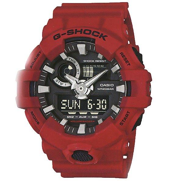 Кварцевые часы Casio G-shock 67582 Ga-700-4aСтильные наручные часы для любителей функционала и активного образа жизни.Характеристики:Яркая светодиодная LED-подсветка срабатывает при нажатии на кнопку. Изменяемое время свечения – 1,5 или 3 секунды. Отображение мирового времени в 31 часовых поясах с отображением 48 основных городов в них + GMT.Секундомер с точностью показаний 1/100 сек и максимальным временем измерения 24 часа. Режимы измерения – SPLIT и ADD. Таймер обратного отсчета на 60 минут с точностью в 1 секунду. 5 ежедневных будильников, устанавливаемых на определенное время, один с функцией Snooze, ежечасный сигнал. Вкл./Откл. звука кнопок. Подстройка положения стрелок при нажатии кнопок, таким образом, чтобы не закрывать дисплей и вспомогательные индикаторы. Автоматический календарь, не требующий дополнительной корректировки, может быть настроен по 2099 год. Отображение времени в 12/24 часовом формате.Комбинированный корпус выполнен из нерж. стали 316L и композитного полимерного материала. Минеральное стекло устойчивое к возникновению царапин.Трехмерный циферблат, большие часовые метки с объемной 3D структурой.Люминесцентный состав на стрелках и часовых метках с ярким послесвечением даже после кратковременного воздействия света. Стальная задняя крышка из нерж. стали с гравировкой соединена с корпусом 4 винтами. Ремешок из полимерного материала, стандартная застежка с двойным шипом.<br><br>Цвет: красный<br>Тип: Кварцевые часы<br>Возраст: Взрослый<br>Пол: Мужской