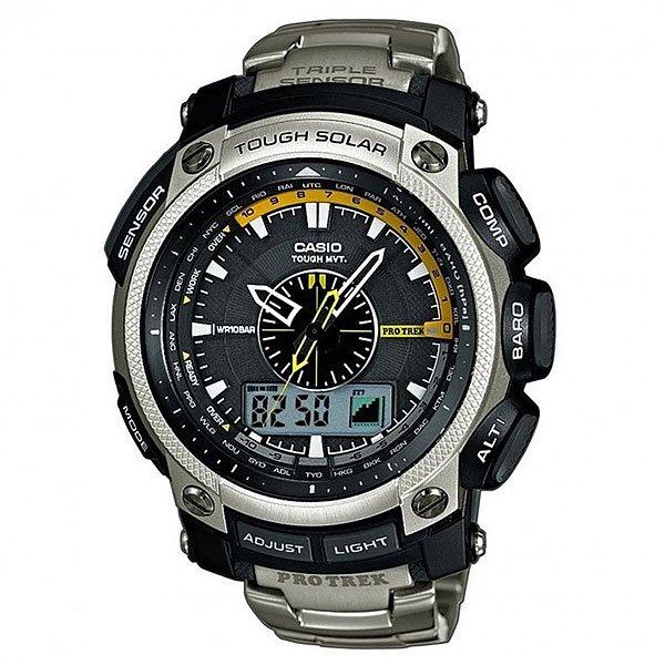 Кварцевые часы Casio Sport 50256 Prw-5000t-7eCasioProTrekPRW-5000T-7ER– противоударные титановые часы с солнечной батареей, которые разработаны специально для активного туризма.Модель обладает продвинутой многофункциональной характеристикой и обновленным тройным сенсором (компас, барометр, термометр) третьего поколения.Модель также демонстрирует стильный и надежный дизайн в серебристом цвете. Для разработки часов используют только современные технологичные материалы и только надежную конструкцию, которая выдержит все испытания природы.Коллекция Pro-TREK – это наручные часы, разработанные всегда на высоком уровне.Характеристики:Кварцевый механизм. Фукнции: будильник, секундомер, календарь. Дополнительные функции: Прием радиосигнала; Измерение барометрического давления; Измерение температуры; Компас; Измерение высоты; Мировое время; Таймер обратного отсчета; Уровень заряда аккумулятора; 12/24ч. формат времени; Питание от солнечной батареи. Титановый браслет. Люминесцентная подсветка.Морозоустойчивость.<br><br>Цвет: серый<br>Тип: Кварцевые часы<br>Возраст: Взрослый<br>Пол: Мужской