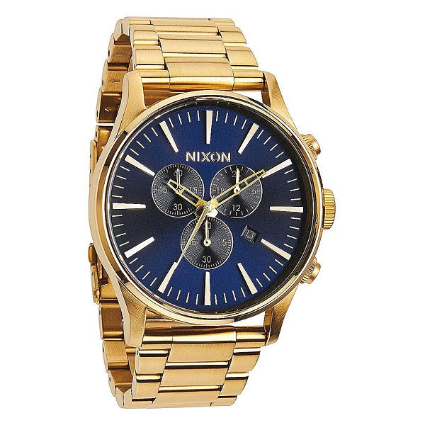 Кварцевые часы Nixon Sentry Chrono Leather Gold/Blue кварцевые часы nixon sentry chrono black rose gold