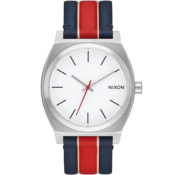 Кварцевые часы Nixon Time Teller Stripes<br><br>Цвет: синий,красный<br>Тип: Кварцевые часы<br>Возраст: Взрослый<br>Пол: Мужской